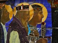 Adoring magi with jeweled haft, urn, crowns