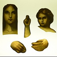 Faces and hand with reparative reverse painting overlayed