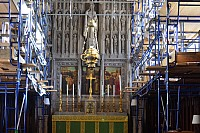 Chancel scaffolding and reredos with too much light