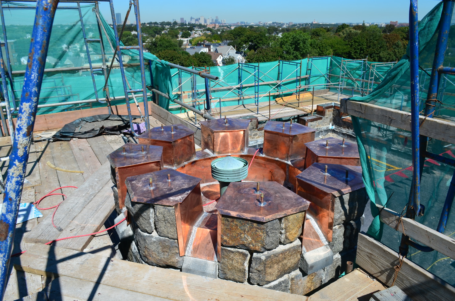 Crenelated stair tower roof, photo credit:  Ashmont 2013