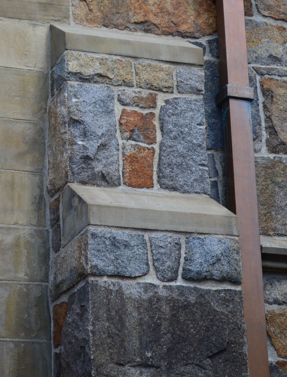 Narthex nw buttress after, photo credit:  Ashmont 2014