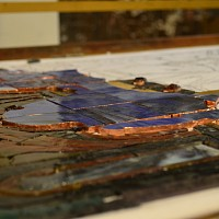 Copper edging on plated pieces panel I3